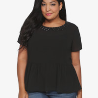 Black Studded Collar Chiffon Peplum Top | Torrid