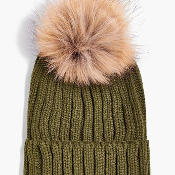 Matilda Detachable Faux Fur Pom Beanie Hat | Boohoo