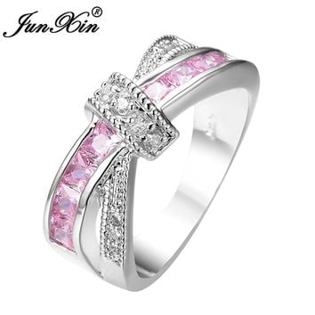 JUNXIN Female Pink Cross Ring Fashion White & Black Gold Filled Jewelry Promise Engagement Rings For Women Birthday Stone Gifts