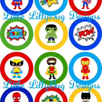 Super Hero Boy Cupcake Toppers Blue Red Green Yellow Favor Tags baby shower birthday party diy Printable INSTANT DOWNLOAD