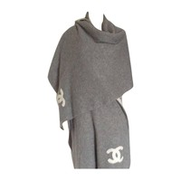 1996 Chanel CC Logo 8 Feet Cashmere and Silk Reversible Shawl/Wrap Coat