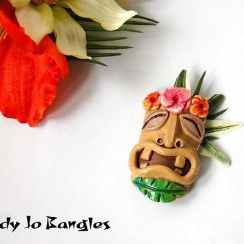 Tiki Mask with Plumera Brooch Pin