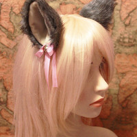 GREY black white mix inner khaki Beige 9 cm Kitty Cat Ear FOX WOLF ear Hair Clip Bell set Cosplay Costumes Party ,  c-1