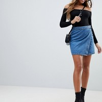 ASOS DESIGN denim wrap skirt in stonewash blue at asos.com