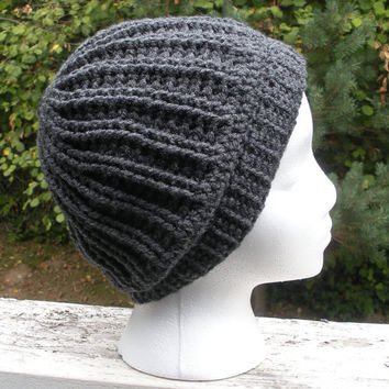 Unisex crochet chunky ribbed light slouch beanie in charcoal grey, ready to ship.