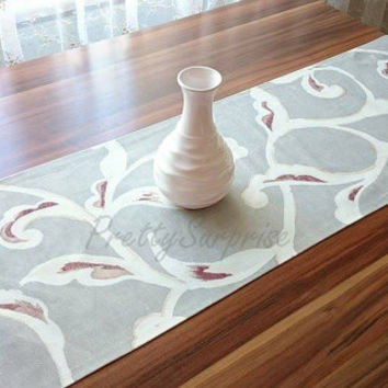 New!! Gray Leaf Table Runner,Decorative Table Runner, Pastel Table Cover,Handmade Table Runner, Spring Table Decor, Dining Table Runner