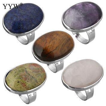 YYW Punk Oval Geometric Women Men Unisex Finger Ring Natural Tiger Eye Clear Quartz Lapis Lazuli Opal Rose Stone Full Mid Rings