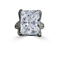 15 CT. Intensely Radiant Emerald/Rectangular Diamond Veneer Center Held by Double Pave Eagle Claw Prongs Ring. 635R71648