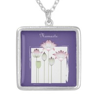 Pink Lotus Flower Namaste Modern Chic Violet Silver Plated Necklace