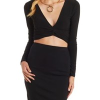 Black Plunging Knotted Long Sleeve Crop Top by Charlotte Russe