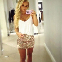Fashion Sequins Package Hip Skirts