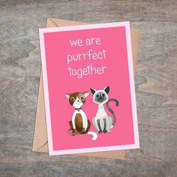 Purrfect Together - Valentine Card Printable, Instant Download, Cats Greeting Card, Valentine Gift For Cat Lover, Cute Illustration