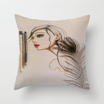 She Throw Pillow by Müge Başak