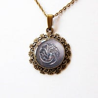 House Targaryen of King's Landing - Game of Thrones - A Song of Ice and Fire - Handmade Vintage Cameo Pendant Necklace