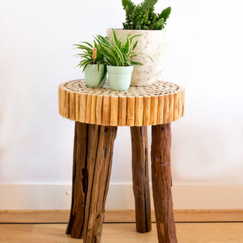 Counter stool, distressed wood stool, natural stool, rustic stool