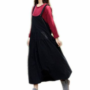 Ankle Length Suspender Skirt High Quality Women Long Skirt Black Jupe Longue Femme With Pockets