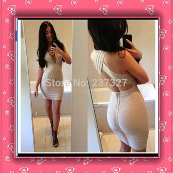 Free Shipping 2016 Hot&Sexy Deep V Neck Cross Back Womens Short Cocktail Party Club HL Nude Bodycon Bandage Dresses High Quality