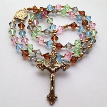 Multicolor Rosary, Catholic Rosary, Crystal Beads, Sacred Heart of Jesus, Catholic Gift, Rosary Beads, Catholic Prayer Beads