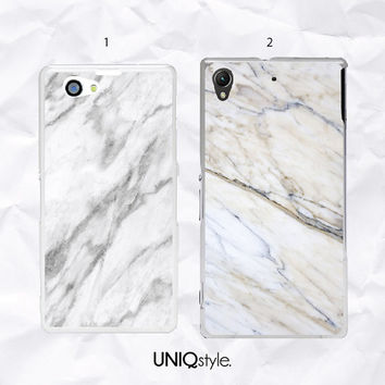 Marble phone cover for Sony Xperia Z, Z1, Z1s, Z2, Z1 compact, Sony xperia M, m2, z ultra - white marble pattern phone case for Sony - N26