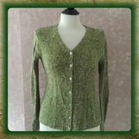 Lambs Wool Blend Green Floral Cardigan Sweater S