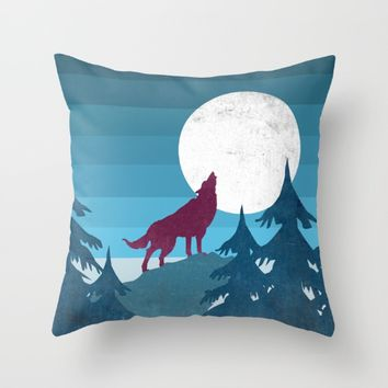 Wolf in the woods Throw Pillow by Xiari