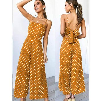 Sleeveless Polka Dot Jumpsuit with Bow-knot