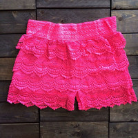 Neon Pink Lace Shorts