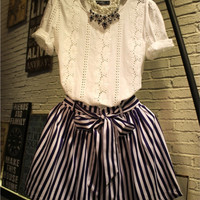 White Eyelet Short Sleeves Top And Bow Waist Striped Mini Skirt