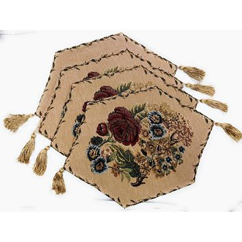 Tache 4 Piece Colorful Floral Country Rustic Morning Meadow Woven Table Runner/Placemats , 13x17 (DB3098-4PC13X43TR)