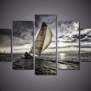 Lonely Sails Drifter Sailboat 5-Piece Wall Art Canvas