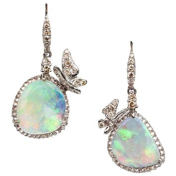 Arunashi Opal Cognac Diamond Gold Earrings