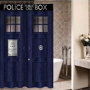 "Tardis Police box, police box call Custom Shower curtain,Sizes available size 36""w x 72""h 48""w x 72""h 60""w x 72""h 66""w x 72""h"