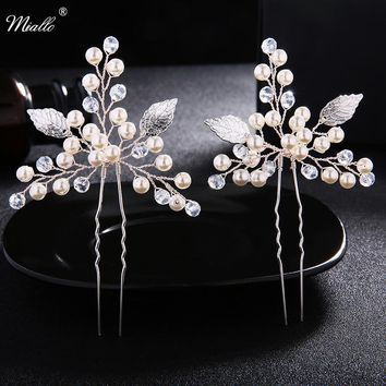 Miallo Newest 2 Pcs/Lot Wedding Hair Pins for Bride Ivory White Hairpins for Women Wedding Hair Ornaments Hair Accessories