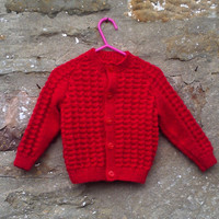 "Hand knitted baby boys red cardigan or  jumper and hat set. 20"" chest."