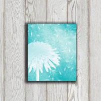 Dandelion Poster print Dandelion Wall art Turquoise Home decor Teal Mint Wall printable Digital Modern Abstract Flower art INSTANT DOWNLOAD