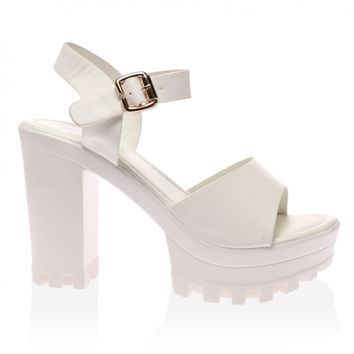 Akira White Cleated Heeled Sandal