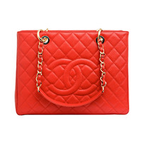 Chanel Lipstick Red Quilted Caviar Grand Shopper Tote (GST) - Never Carried