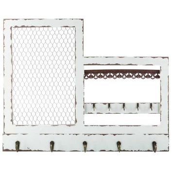 Antique White Jewelry Holder with Hooks & Wire   Hobby Lobby
