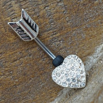 Sparkly Heart Arrow Belly Button Ring