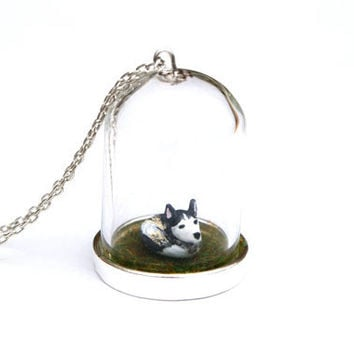 Custom Pet Portrait Necklace - custom made clay pet in a 35mm glass bell jar on a bed of grass, 16 inch chain.