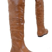 Corset Cuff Round Toe Thigh High Over the Knee Riding Boots Womens Tan