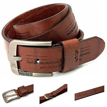 Brown Real Leather Belt  Fashion Buckle Designer Handmade MEN