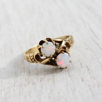 Antique 14K Yellow Gold Opal Ring -  Vintage Victorian Art Nouveau Size 4 3/4 Fine Jewelry / Fiery Pair