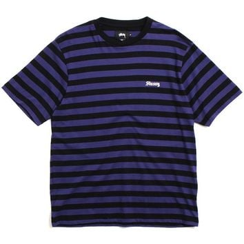 Baron Stripe Jersey T-Shirt Purple