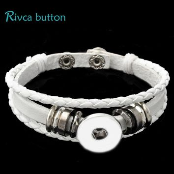 Rivca Snap Button Jewelry Leather Bracelets For Women Fit 18mm Snap Button Bracelet Men Casual Vintage Punk Bracelet P00734