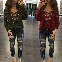 2016 Autumn Long Sleeve Tops Tee Shirt Femme BandageTops for Women T Shirt Deep V-neck T-Shirts Plus Size