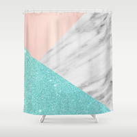 Real Italian Marble with Pink and Blue Shower Curtain by Cafelab