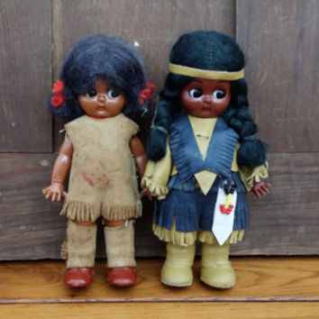 Vintage Native American Indian Souvenir Dolls Set of 2 One With Papoose