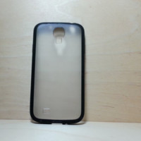 Silicone Bumper and Translucent Frosted Hard Plastic Back Case for Samsung Galaxy S4 - Black