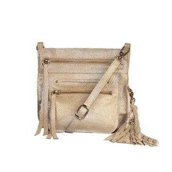 Stretta Small Leather Crossbody and Belt Hip Bag - Sparkle Gold